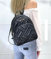 MICHAEL KORS ABBEY MEDIUM BACKPACK LEATHER QUILTED BLACK GOLD $114.95