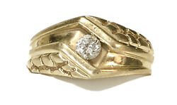 Antique Basset Jewelry Co 14k Yellow Gold 0.25 Ct Diamond Mens Ring Size 11.75