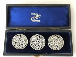 Edwardian Set Of 3 Large Silver Lady's Buttons Hm B'ham 1901 In Original Box