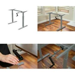 64 In. Rectangular Gray Standing Desk With Adjustable Height Feature