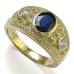 Etruscan Byzantine Style Menand039s Ring 10k Gold White And Blue Sapphire Ring R1644