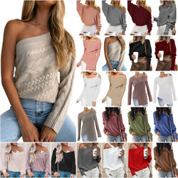 Sexy One Shoulder Women Fall Winter Long Sleeve Knitted Sweater Jumper Tops $17.28