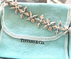 And Co. Sterling Silver 7 Four Leaves Link Bracelet In Pouch And Box