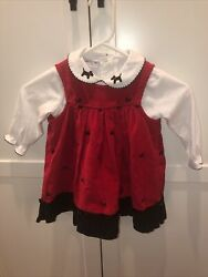 Samantha Says Red Courdoury Dress Black Collie Dogs With Long Sleeve Shirt 2T