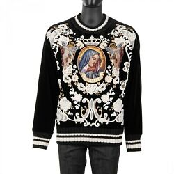 Dolce And Gabbana Runway Ave Maria Angels Embroidered Velvet Sweater Black 08888