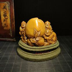 4.8'' China Antique Seal Natural Old Shoushan Stone Seal Stamp Boy Peach
