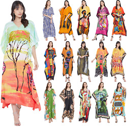 Women Maxi Caftan Plus Size Kaftan Long Beach Evening Gown Kimono Casual Dresses $13.99