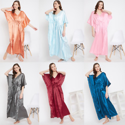 Women Plus Size Kaftan Satin Caftan Long Maxi Dress Kimono Sleeve Evening Gown