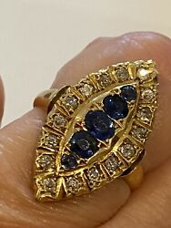 Antique Marquise Sapphire And Diamond 18 Ct Yellow Gold Ring Size P Superb