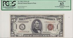 1934a 5 Hawaii Federal Reserve Note Great Looking Note Fr.2302 Pcgs 63