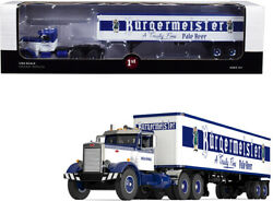 Peterbilt 351 Day Cab With 40' Vintage Trailer Burgermeister Blue And White A