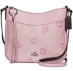 COACH 89470 Chaise Pansy Print Leather Crossbody Handbags Silver Hardware $198.00