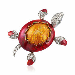 Vintage Diamond Turtle Pin With Red And Orange Enamel In 18kt Two-tone Gold