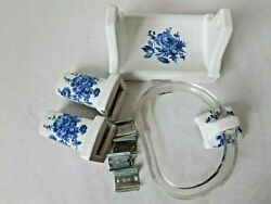 Vintage Country Blue Bath Set Toilet Roll Towel Bar Ring Mounting Hardware