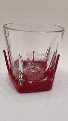 Makers Mark Cocktail Bar Glasses Kentucky Bourbon Red Dipped 8 Oz