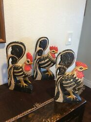 """3 Vintage Rooster Chicken Wood Carved Painted Rustic Farmhouse 14"""" 13 1 2"""" amp; 13"""""""