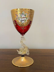 Murano Glass Ruby And Gold Goblet With Enameled Flowers Dolphin Stem