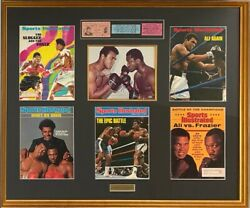 Muhammad Ali And Joe Frazier Signed Photo 8x10 And 3 Tickets Mags Collage Framed Coa