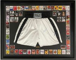 Muhammad Ali Autograph Signed Boxing Trunks + Fight Cards Set Collage Framed Coa