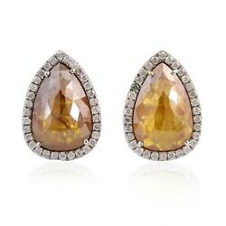 4.18ct Natural Ice Diamond Pear Shaped Stud Earrings 18k White Gold Jewelry
