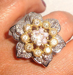 Bold 18k Solid Gold 2 Ct Diamond Shiny Flower Ring 4 A Star Fine Jewelry