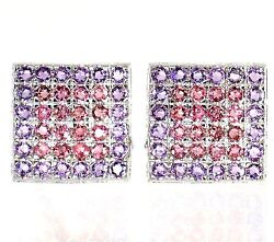 5.07cttw Natural Pink Sapphires And Amethyst 14k White Gold Men's Cuff Link