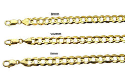 14k Solid Yellow Gold Flat Curb Italian Link Chain Necklace 8mm-11mm Sz 22-30