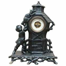 Lovely Victorian Boy Chasing A Cat Met Aneroid Barometer Painted Cast Iron