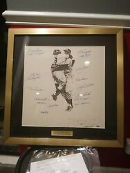 New York Yankees 1956 Team Signed Lithograph Framd Poster Psa Authenticated