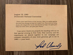 Edward M. Kennedy Ted Signed Autogr Aug 12, 1980 Democratic Natl Convention