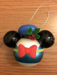 New Disney Donald Duck W/ Sailer Hat And Holly / Frosted Blown Glass Ornament New