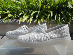 Free People Santorini Woven Leather Slip On Sneaker White Combo Wmnand039s Size 37