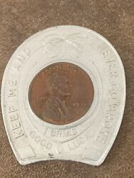 """1946 Lincoln Wheat Cent Lucky Horseshoe Keep And Never Go Broke"""""""