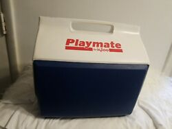 Vintage PLAYMATE by Igloo Cooler 16 Quart White Blue Clean $49.99