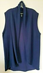 Style And Co Shawl Collar Open Drape Front Sweater Vest Navy Tunic Cardigan Large
