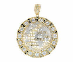 10k Or 14k Real Solid Two Tone Gold Large World Globe Cz Hand Finished Pendant