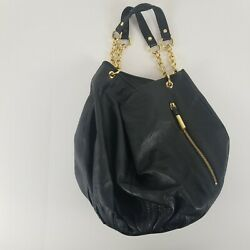 BODHI Snap Bucket Bag Purse Black Pebbled Leather Gold Accents $48.30