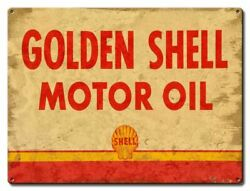 12 Golden Shell Motor Oil Heavy Duty Usa Made Metal Gas Station Adv Sign