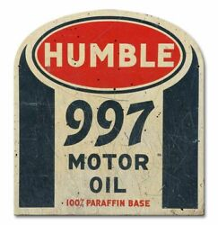 3 Humble 997 Motor Oil 100 Paraffin Heavy Duty Usa Made Metal Gas Co Adv Sign