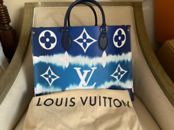 Louis Vuitton escale onthego on the go GM tie dye blue tote receipt and tags $900.00