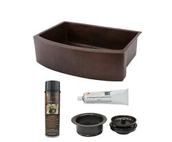Copper 30 In. Single Bowl Rounded Kitchen Farmhouse Apron Front Sink And Drain