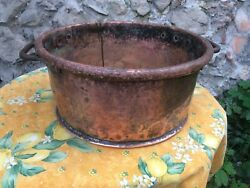 Antique French Copper Cooking Display Pot Large 1800s Cauldron Garden Wash Tub