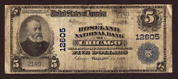 5 1902 Pb The Roseland National Bank Of Chicago, Illinois Ch 12605 Vg+ Rare