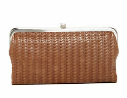 NWT Hobo Lauren Tan Leather Double Frame Clutch Wallet Embossed Russet *RARE $128.00
