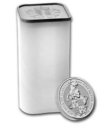 Uk Queen's Beasts 2 Oz Silver 2018 The Bull - Full Tube - Roll Of 10