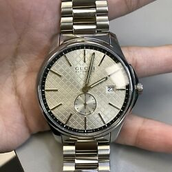 G-timeless Steel Silver Check Dial Automatic Mens Open Back Watch Ya126320