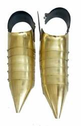 Armor Sabaton Shoe Pair Medieval Knight Crusader Steel Armor Shoes Gold Antique