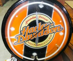Harley Davidson And039americaand039s Finest Motorcycleand039 Neon Clock. Roadhouse Collection