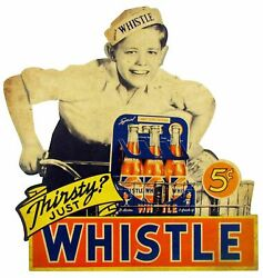 3 Thirsty Just Whistle Soda Pop 5andcent Heavy Duty Usa Made Metal Advertising Sign