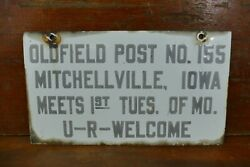 Vtg 1930s American Legion Oldfield Post No 155 Porcelain Sign Mitchellville Ia